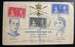 1937 Berbera Somaliland first day cover King George VI Coronation KG6