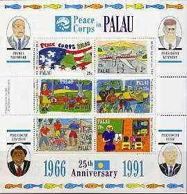 Palau 1991 US Peace Corps sheetlet containing set of 6 un...