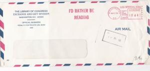 United States 1986 Id Rather Be Reading Airmail Meter Mail Stamps Cover Rf 29351