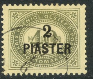 AUSTRIAN OFFICES IN TURKEY 1902 2pi on 40h Gray Green Postage Due Sc J4 CTO