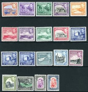 CYPRUS-1938-51  A lighty mounted mint set to £1 Sg 151-163