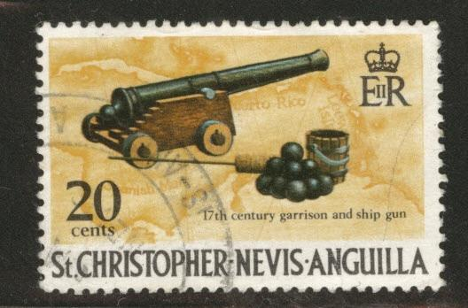 St Kitts Nevis Scott 216 used Cannon 1970 stamp