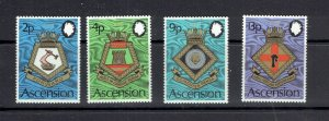 ASCENSION ISLAND - 1973 NAVAL ARMS - SCOTT 166 TO 169 - MNH