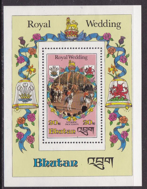 Bhutan 1981 20nu Princess Diana Wedding Procession Souvenir Sheet VFNH(**)