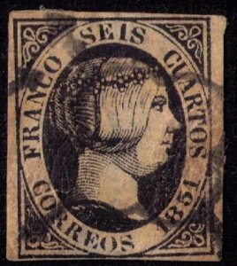 Spain #6A USED THICK PAPER F-VF