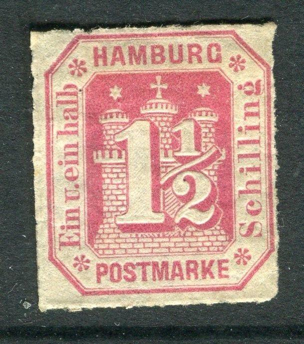 GERMANY  HAMBURG;  1866 early rouletted issue 1.5s fine unused ,
