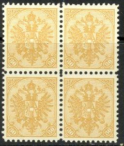 BOSNIA AND HERZEGOVINA 1911 30h ARMS P.10 1/2 Official Reprint BLOCK 4 Sc 19 MNH
