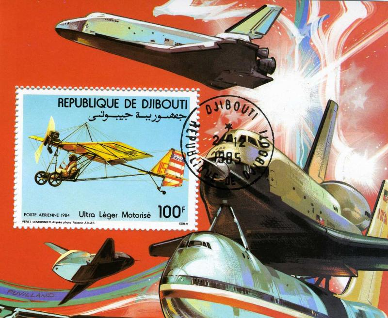 Djibouti 1984 Microlight Flying Souvenir Sheet Perforated Canceled