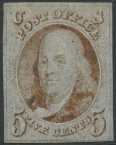#1 5c 1847 -- VF OG LH -- SCARCE CV $6,750 WLM6929