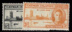 CAYMAN ISLANDS GVI SG127-128, VICTORY set, M MINT.