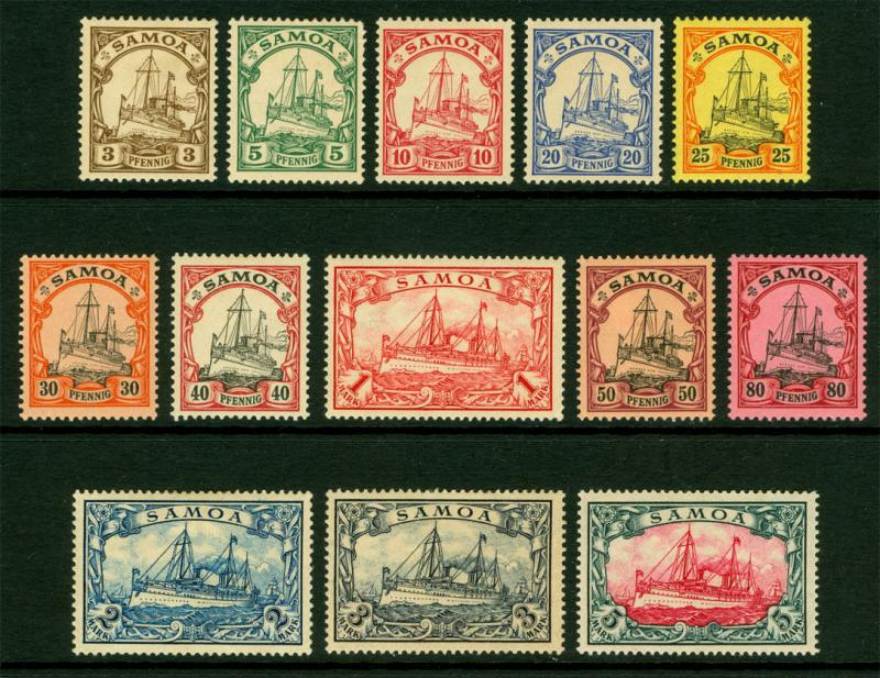 German Colonies - SAMOA 1900  Kaiser's YACHT set  Sc# 57-69  mint MH