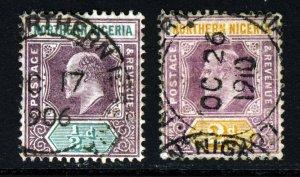 NORTHERN NIGERIA KE VII 1905-07 Wmk Mult Crown CA Group SG 20a & SG 22a VFU