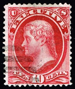 US STAMP BOB #O14 – 1873 10c Official  Stamp Executive USED $650