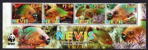 Nevis WWF Rainbow Parrotfish Bottom Strip of 4v with WWF Logo SG#2015-2018