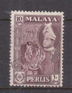 PERLIS, MALAYSIA, 1961 Raja Syed Putra 10c. Deep Maroon, used