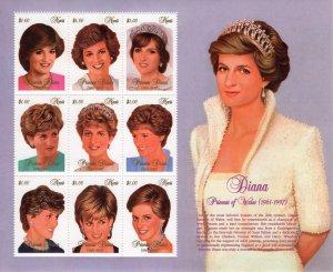 Nevis 1997 Sc#1030 DIANA PRINCESS OF WALES Sheetlet (9) MNH