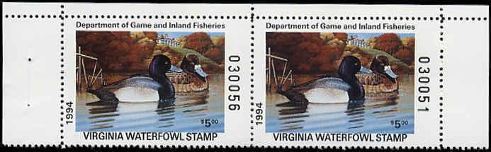 VIRGINIA #7A 1994 STATE DUCK HORIZONTAL PAIR LESSER SCAUP by Francis Sweet