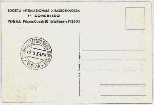 MEDICINE \ RADIO BIOLOGY : ITALY -  postmark on postcard 1934