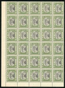 IFS JAIPUR SG54 1932 4a Postage and Revenue U/M Block of 30