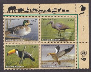 United Nations - Vienna # 332a, Endangered Species - Birds, NH, 1/2 Cat.