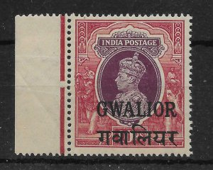 INDIA-GWALIOR SG115 1948 10r PURPLE & CLARET MTD MINT