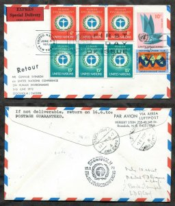 p624 - United Nations 1972 FDC Cover Special Delivery Express to Sweden RETURNED