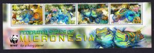 Micronesia WWF Mandarinfish Bottom Strip of 4v with WWF Logo MI#2052-2055
