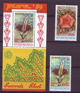 J25093 JLstamps 1989 indonesia set + s/s mnh #1376-8 flowers