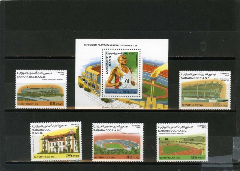 SAHARA OCC 1996 SUMMER OLYMPIC GAMES SET OF 5 STAMPS & S/S  MNH