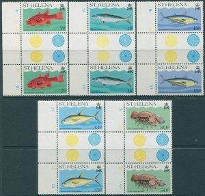 St Helena 1985 SG459-463 Marine Life gutter pairs set MNH