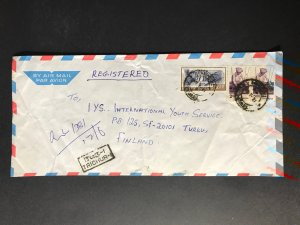 India Registered Cover to Finland City Cancel (1980s-1990s) Cover #1010