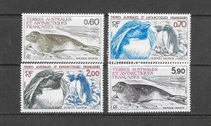 PENGUINS & SEALS - FRENCH SOUTHERN ANTARCTIC TERRITORY #107-10  MNH