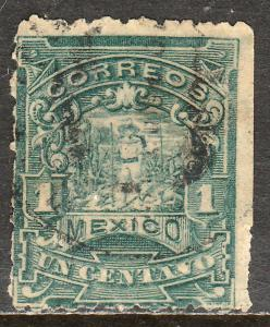 MEXICO 257, 1cent MULITA WMK RM INTERLACED. USED. F-VF. (157)