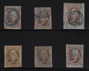 #1 (6) DIFFERENT SHADES & BLUE CANCELS USED CV $2,760 BR6926 HS1021623
