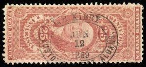 B654 U.S. Revenue Scott #R46c 25c Insurance, 1869 oval customs handstamp cancel