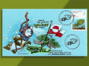 Greenland Celebrates One of the World's UGLIEST Fish!  Handcolored 2009 FDC!
