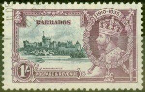 Barbados 1935 1s Slate & Purple SG244L Kite & Horiz Log Superb Used Scarce