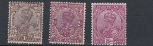 INDIA  1926 - 28   VARIOUS VALUES 1A TO 8A   MH