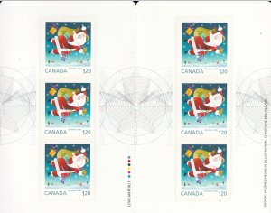 Canada 2014 BK608 Sc 2799 Pane of 6 $1.20 Santa with his magical sack Christmas