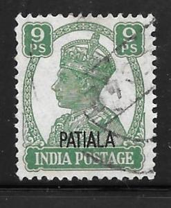 India Patiala 104: 9p George VI, used, VF