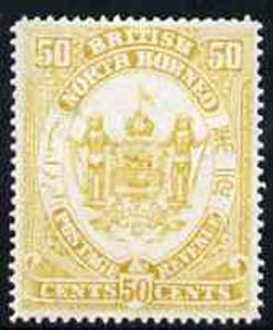 North Borneo 1888 Arms 50c perforated colour trial in yel...