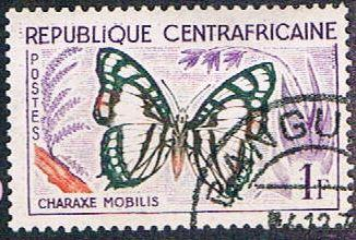 Central African Rep 5 Used Butterfly (BP6020)