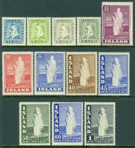 EDW1949SELL : ICELAND 1935-45 Sc#195-98, 203-08B Both Cplt sets VF MOGH Cat $127