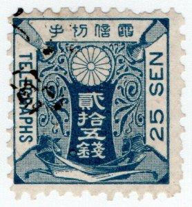(I.B) Japan Telegraphs : 25sen Deep Blue (1885)