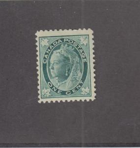 CANADA (MK305) # 67  FVF-MNH 1cts  1897 QV MAPLE LEAF / BLUE-GREEN CAT VALUE $90