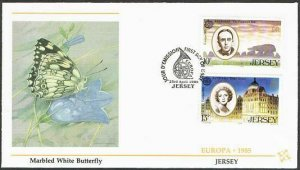 Jersey 353-355,two FDC.Michel 347-349. EUROPE CEPT-1985.Composer,Actress.
