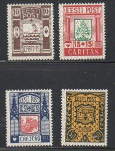 Estonia Sc B36-39 1938 Coats of Arms stamp set  mint NH