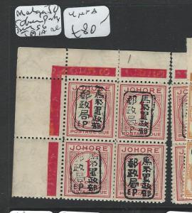 MALAYA JAPANESE OCCUPATION JOHORE (P1301B) POSTAGE DUE 1C SGD1A BL OF 4 MNH