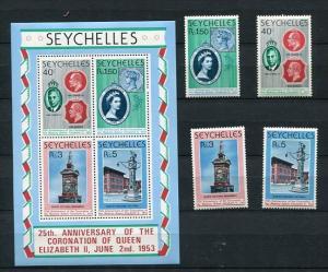 Seychelles 1978 Sheet+Stamps Sc 413-6 416a  MNH Queen Elizabeth II Anniv Of C...