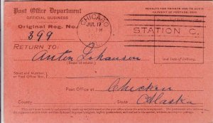 1913, Chicago, IL to Chicken, AK, Return Receipt Card, See Remark (31619)